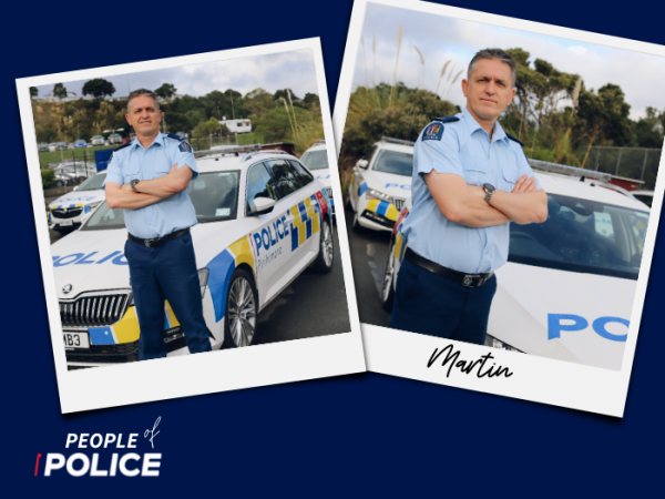 People of Police logo and two overlapping colour photos of Martin, all on a dark blue background.