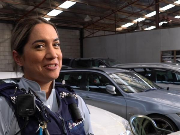 Constable Erana Savage with some of the types of cars being stolen in Waikato