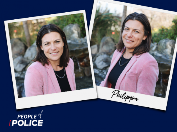 People of Police logo and two overlapping colour photos of Philippa, all on a dark blue background.