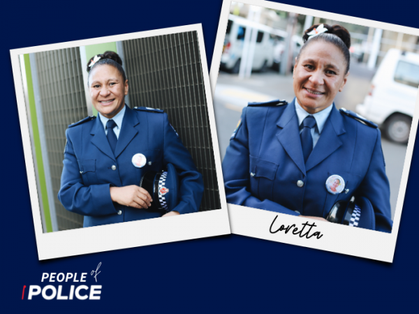 People of Police logo and photo of Loretta smiling at the camera, both on a dark blue background
