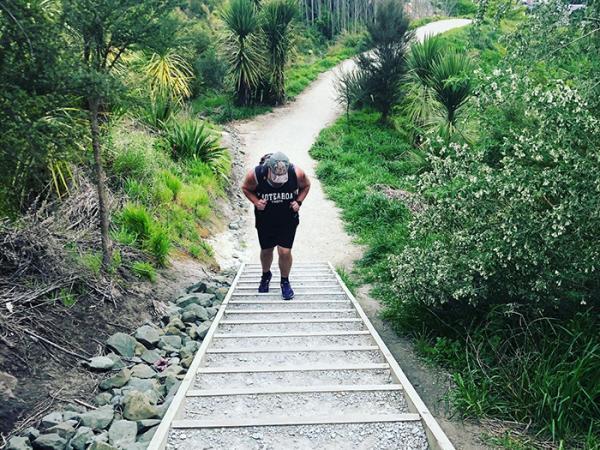 Justin in training up Gisborne's Titirangi (Kaiti Hill).