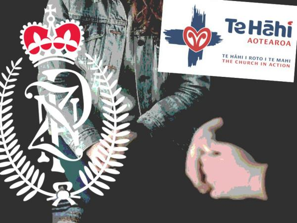 Graphic showing the Police insignia and the Te Hāhi logo, over a stock image of someone's clasped hands.