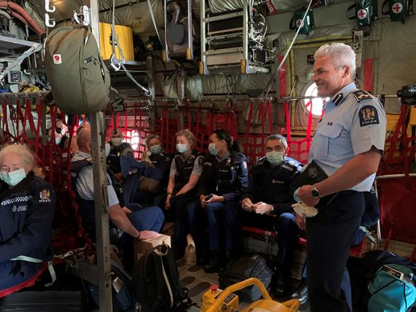 Assistant Commissioner Richard Chambers addresses the team before take-off from Ohakea.