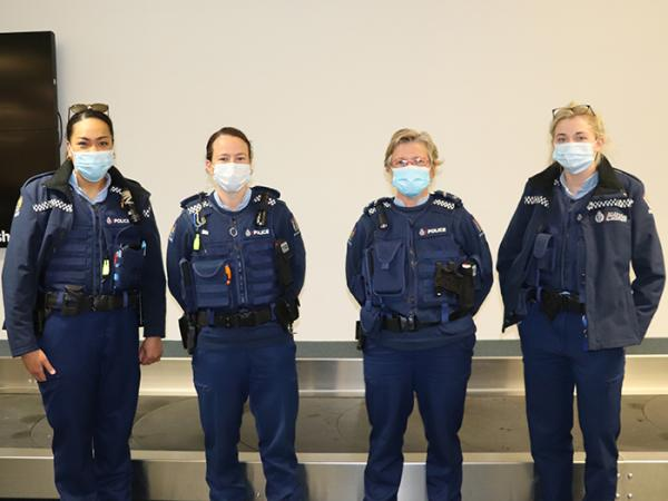 Constables Analupe Halaleva and Erin Doherty, Senior Constable Karren Bye and Constable Courtney Myron await the Herc in Dunedin