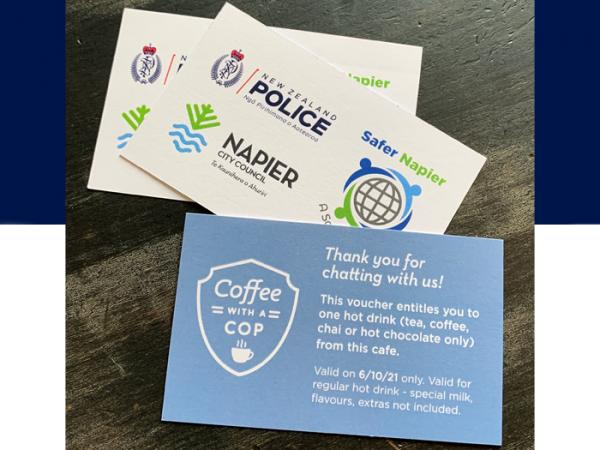 Coffee with a Cop cards, offering the holder a free hot drink.