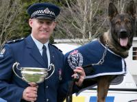 Senior Constable Blair Spalding and Rush after their win in the national championships in September.