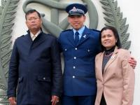 New Constable Jaroensuk with his parents at the Royal New Zealand Police College. Photo: Emma Inwood, RNZPC