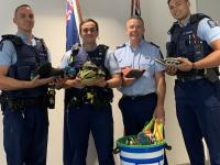 Acting Inspector Mark Clayton and Auckland staff involved in the Police Boot Bin Project