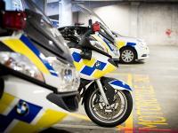Police motorbike in garage