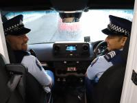 Constable Nick Atherley, left, and Sergeant Arnold Politini get the MPB on the road.