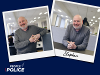 People of Police logo and two overlapping colour photos of Stephen, all on a dark blue background