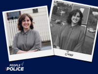 People of Police logo and two overlapping colour photos of Jess, all on a dark blue background.